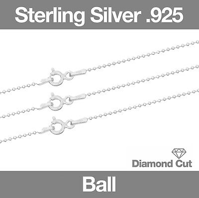 Sterling Silver .925 Chain Necklace Diamond Cut Ball Chain 16  - 20  • 4.88£