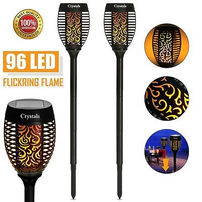 96 Led Torch Solar Light Patio Garden Dancing Flickering Flame Lamp • 11.99£