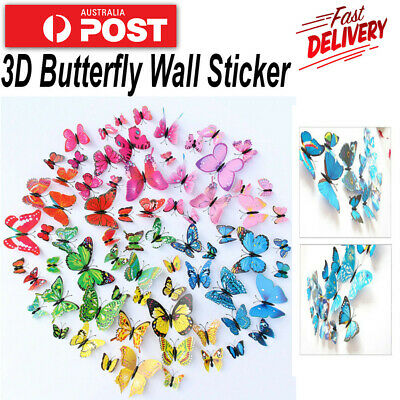 AU5.40 • Buy 12PCS 3D Butterfly Wall Removable Sticker Magnets Decals Kids Art Nursery Decor