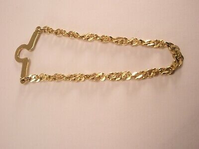 $14.99 • Buy -1-3/8  Wide Pendant TWISTED CURB CHAIN Button Style Tie Bar Clip Pb27