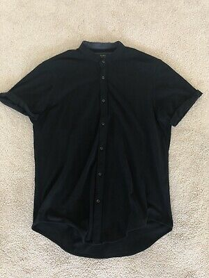 d9684928 Zara Mens Mandarin Collar Shirt Short Sleeve Black Large • 9.99$