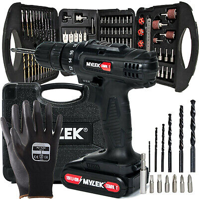View Details Mylek 18V Cordless Drill Driver Screwdriver Li-Ion Fast Charge 131 Accessory Set • 59.95£