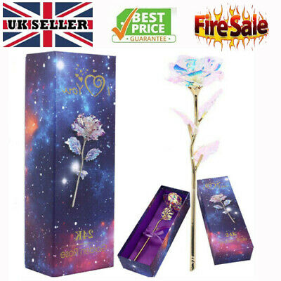 Galaxy Rose Romantic Crystal Flower Valentine's Day Lovers Rose With Gift Box UK • 5.98£