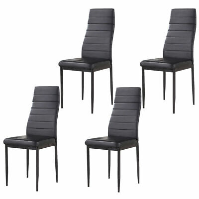 Kitchen Dining Room Furniture Tempered Glass Table & 4PCS High Backrest PU Chair • 78.79$