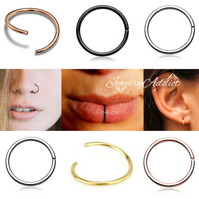 AU2.99 • Buy 6-8-10mm Nose Lip Ear Ring Hoop Twist Bend Steel Sleeper Earring Body Piercing