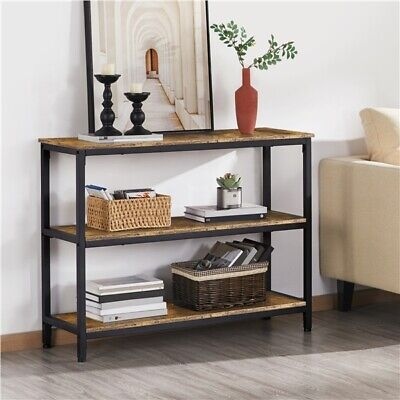 3 Tiers Console Table Industrial Hallway Table W/ Shelf Side Table Rustic Brown • 61.99£