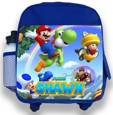 Personalised Kids Backpack Any Name Mario Boys Childrens Back To School Bag 3 • 14.95£