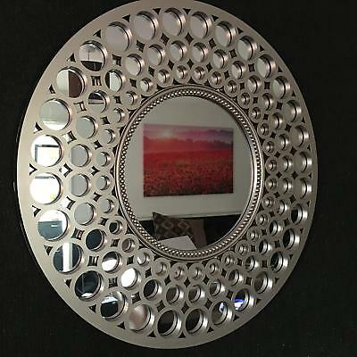 LARGE SILVER Round Wall Mirror Bath Overmantel Moroccan Round Wall Mirror 63cm  • 29.99£