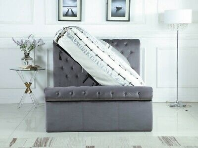 New Sleigh Selina Ottoman Gas Lift Storage Fabric Bed Frame Grey 4ft6 & 5ft • 289.99£