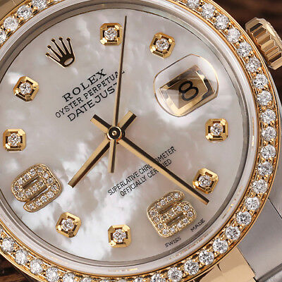 $ CDN9068.67 • Buy Rolex 36mm Datejust 18k Gold & SS Diamond Watch White Mother Of Pearl Dial