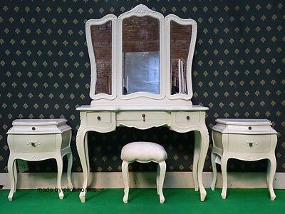 £1699 • Buy White Or Cream Five Piece Rococo Bedroom French Wood Set Dressing Table, Bedside