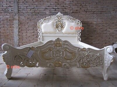 £1299 • Buy Ivory With Gold 5' UK King Size Rococo Bed Direct From Bespoke Furniture Makers