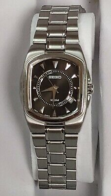 $ CDN54 • Buy SEIKO Quartz 100M Ladies Black Dial Stainless Steele Rectangle Watch.