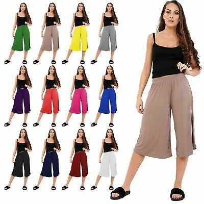 Ladies Cropped Trousers Womens 3/4 Three Quarter Elasticated Wide Leg Crop Pants • 6.17£