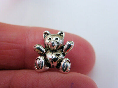 4 X Adorable 3D Teddy Bear Charms Beads Antique Silver 14mm X 10mm LF (CPX7116A) • 1.10£