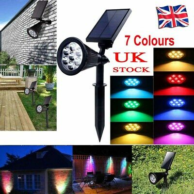 7 LED Solar Spot Lights Color Changing Garden Light Outdoor Waterproof Yard Lamp • 11.98£