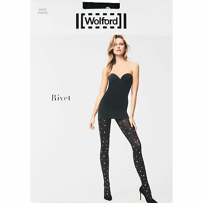 WOLFORD Women's Black & Silver Rivet Tights, Size MEDIUM • 21.11£