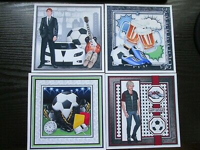 BUMPER SET  ----  4 X FOOTBALL THEMED  Birthday Card Toppers & Sentiments • 1.99£