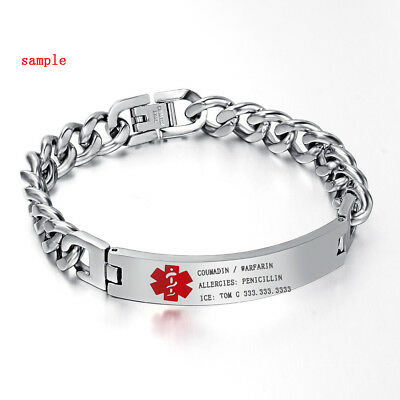Personalized Mens Silver Medical Alert ID SOS Bracelet Bangles Chain Engraving • 12.49£