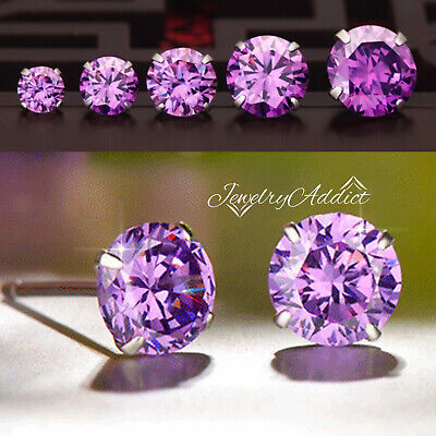 AU5.44 • Buy 925 Sterling Silver Purple Amethyst Birthstone Round Stud Earrings Ear Piercing