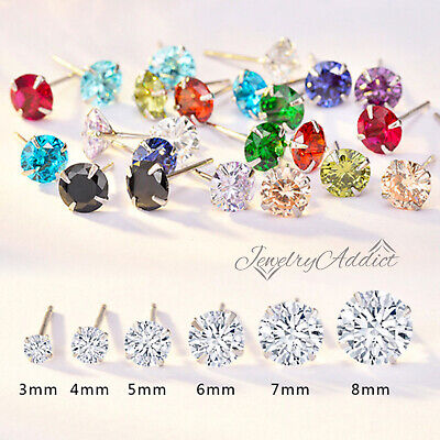AU5.72 • Buy Sterling Silver Black Gem Diamond Mens Womens Round Stud Earrings Ear Piercing