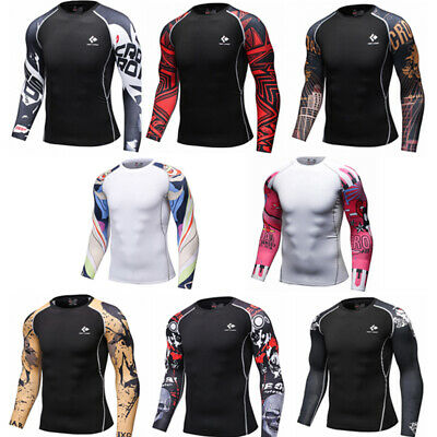 £4.99 • Buy Men's Workout Compression Top Sports Jogging Running Gym Base Layer Long Sleeved