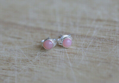 925 Sterling Silver Stud Earrings With 4 Mm Peruvian Pink Opal  • 8.99£