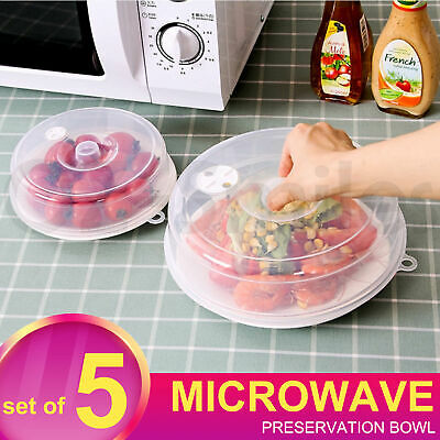 AU14.25 • Buy Microwave Lid Food Cover Plate Or Bowl Covering-Kitchen Tools Bpa Free Set Of 5