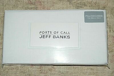 Jeff Banks PORTS OF CALL White Housewife Pillowcases Pair • 8.99£