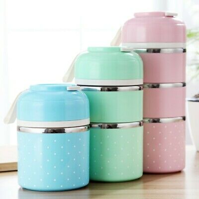 AU52.40 • Buy 1-3Layer Lunch Box Steel Thermo Insulated Thermal Shock Proof Food Container New