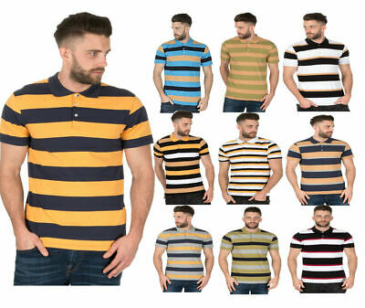 Mens Striped Polo Shirts Collared Rugby T Shirt Summer Tee Short Sleeve S M L XL • 5.99£
