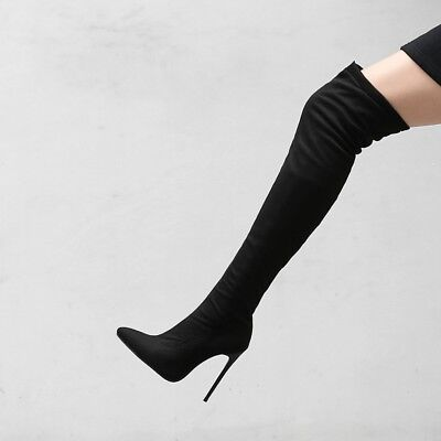 £25.54 • Buy Plus Size Women's Thigh High Boots Stiletto High Heel Pointed Toe Zip Suede Shoe