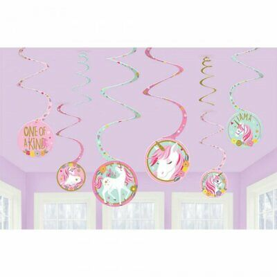 AU7.50 • Buy Magical Unicorn Birthday Party Supplies Spiral Hanging Decorations 12 Pieces