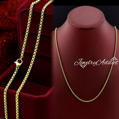 AU10.97 • Buy 24K GOLD FILLED 2MM BOX CHAIN 60CM For PENDANT MENS WOMENS SOLID NECKLACE 24INCH