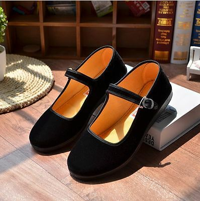 Chinese Retro Ladies Mary Jane Flat Heel Suede Dance Ballet Shoes Buckle Strap • 9.99£
