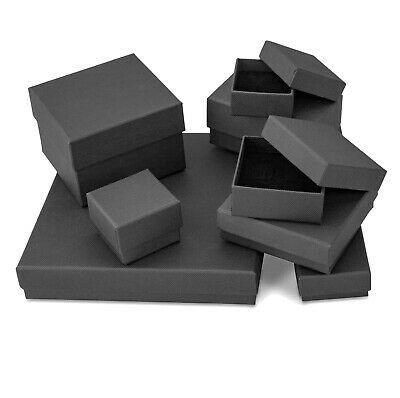 Black Matte Finish Card Gift Boxes For Jewellery, Various Sizes • 3.25£
