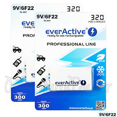 AU24.39 • Buy 2 X EverActive 9V Rechargeable Batteries Professional Line 6F22 Min 300mAh Ni-MH