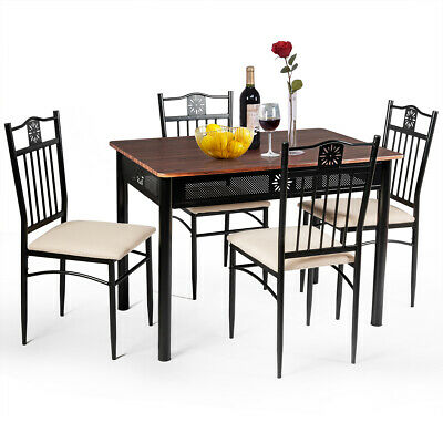 5 Piece Dining Set Wood Metal Table And 4 Chairs Kitchen Breakfast Furniture New • 149.95$