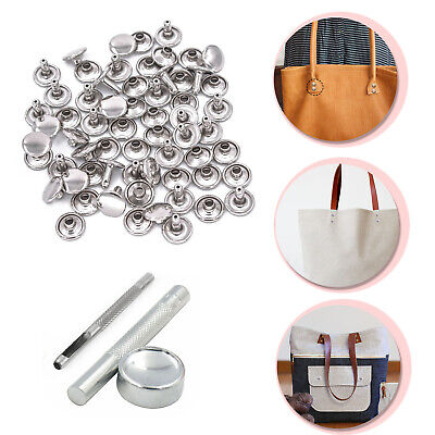 8mm 100pcs Double Cap Rivets Brass With Hand Tool Set For DIY Leather Crafts Bag • 10.39£