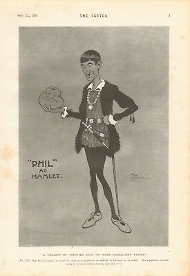 1901  Antique Print -  Cartoon, Theatre -phil (may) As Hamlet By Tom Browne • 15.99£