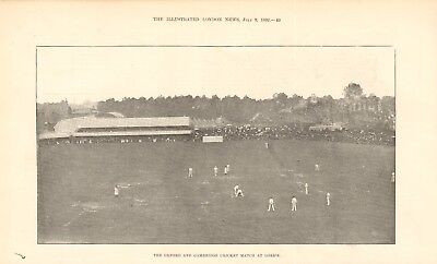 1892 Antique Print- Oxford And Cambridge Cricket Match At Lords • 9.99£