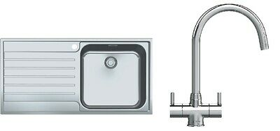 Franke AGX 611-100 Stainless Steel 1.0 Bowl Reversible Sink And Athena Tap (New) • 269£