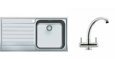 Franke AGX 611-100 Stainless Steel 1.0 Bowl Reversible Sink And Zurich Tap (New) • 269£