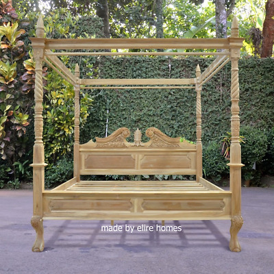 AU2355.71 • Buy 100% Solid Teak Wood 6' Super King Four Poster Canopy Chippendale Queen Anne Bed