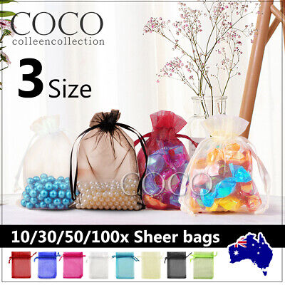 AU9.15 • Buy Wedding Gift Organza Bags Party Favour Candy Pouch Jewellery Packaging Sheer Bag