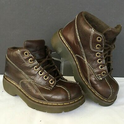 Women's Dr. Doc Martens Ankle Boots Size 7 Brown Leather Embossed Flower • 49.99$