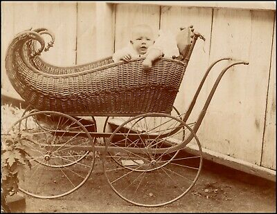 £21.29 • Buy Antique Baby Photograph In Beautiful Wicker Carriage Pram, Baby Buggy