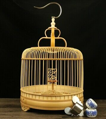 $79 • Buy Asian Bamboo Bird Cage Round Carved Chinese Wooden Pet Nest Home