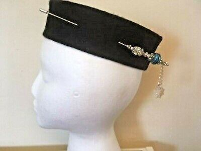 Extra Long  Blue And Silver Vintage Style Hat Pin + Protector 17cm (6 3/4  ) • 6.25£