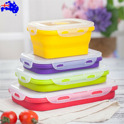 AU34.32 • Buy 4 Size Portable Silicone Collapsible Lunch Box Folding Food Storage Container OZ